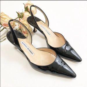 Manolo Blahnik Carolyne Black Patent Leather